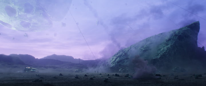 Meteors strike the surface of the moon in a scene from Marvel's Loki series.