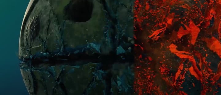 A visual effects slide of the planet Lamentis exploding in Marvel's Loki series.