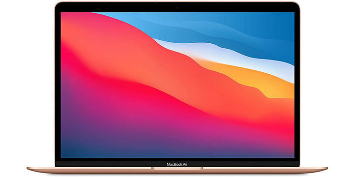 Apple MacBook Air on white background.