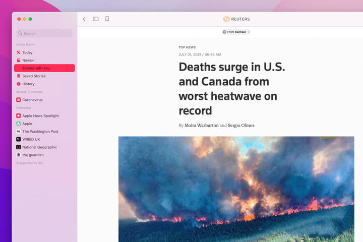 Apple News and Shared With You in Apple's MacOS Monterey public beta.
