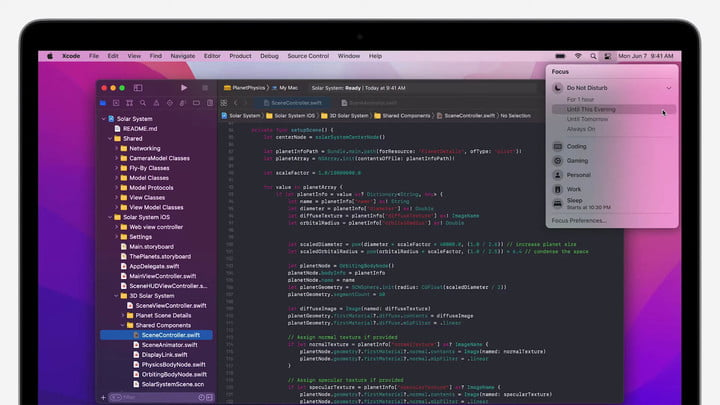 Xcode running on MacOS Monterey at Apple's WWDC 2021 event