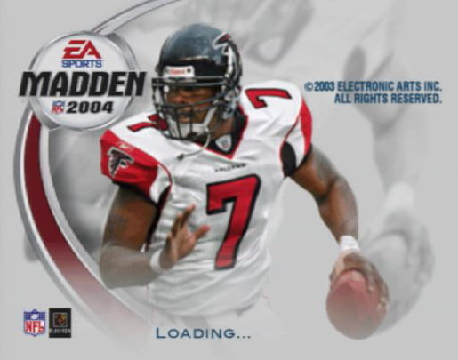 A QB readies a pass on the cover of Madden NFL 2004.