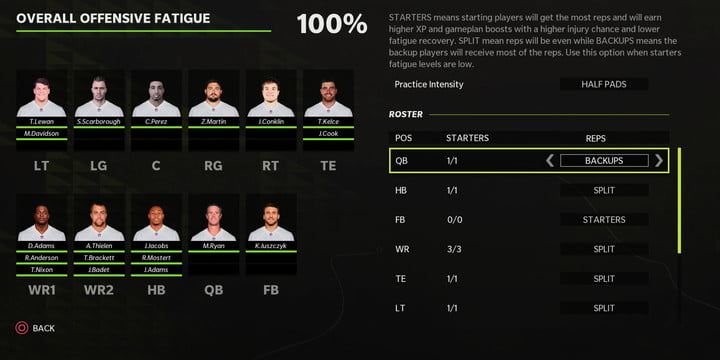 The practice and player health screen from Madden 22.