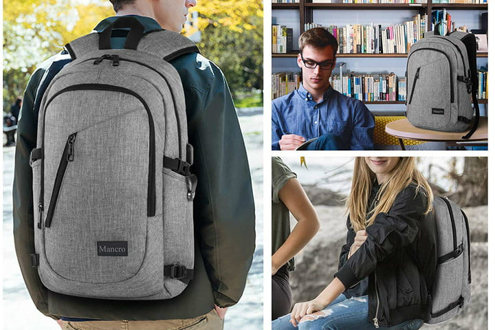 Mancro Laptop Backpack with Charging Port featured in a collage of three photos with varying views of the backpack.