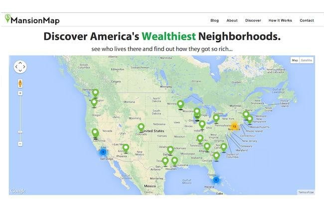 mansion map tours wealthy neighborhoods