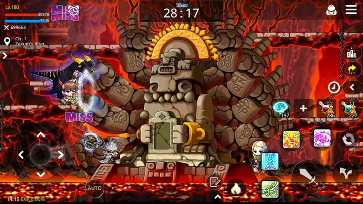 Maplestory players fighting in a cave.