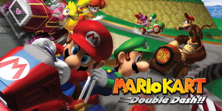 Race cars with classic Mario characters close in on the finish line in Mario Kart: Double Dash.
