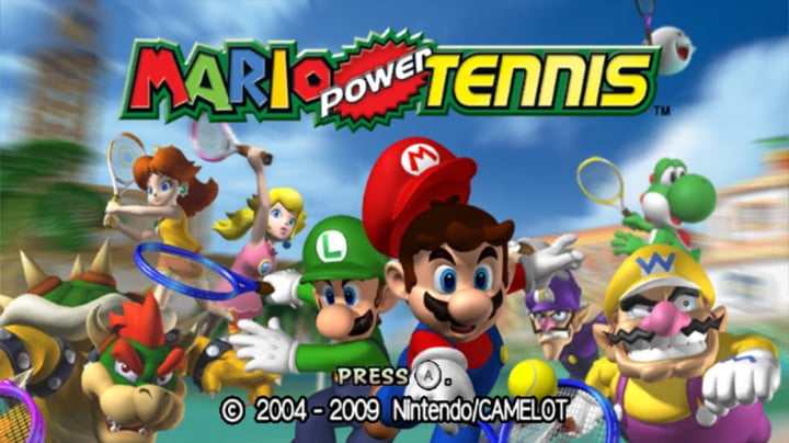 Mario and other charatcers weilding tennis rackets on the cover of Mario Power Tennis.
