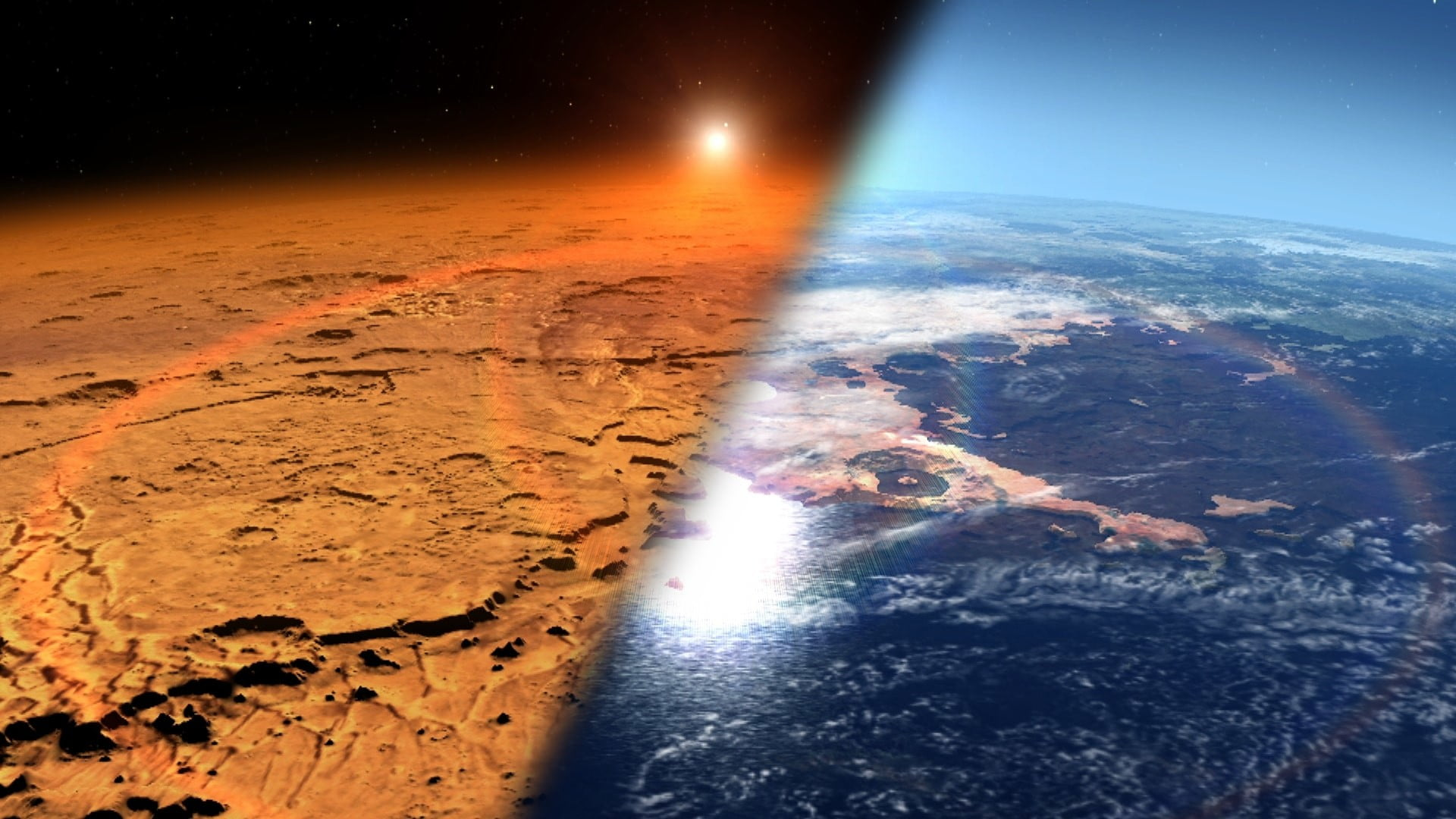 An artist'c concept showing Mars today on the left and Mars as it could have been, covered in water, on the right.