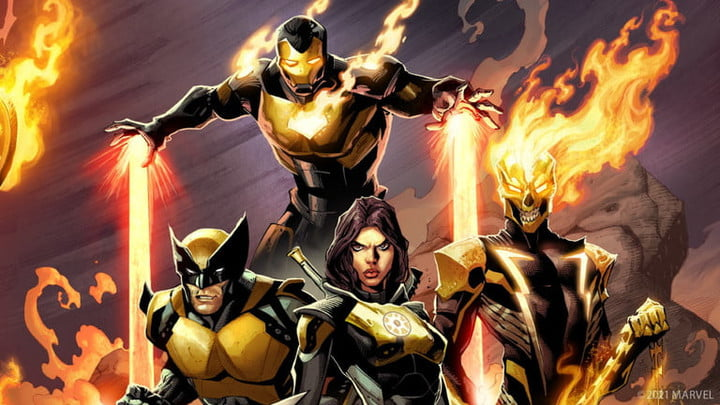 Wolverine, Iron Man, and Ghost Rider from Marvel's Midnight Suns.