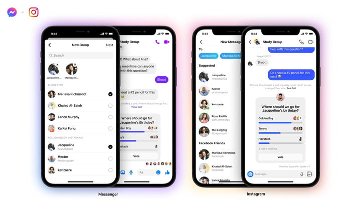 Facebook enables group chat creation across Messenger and Instagram.