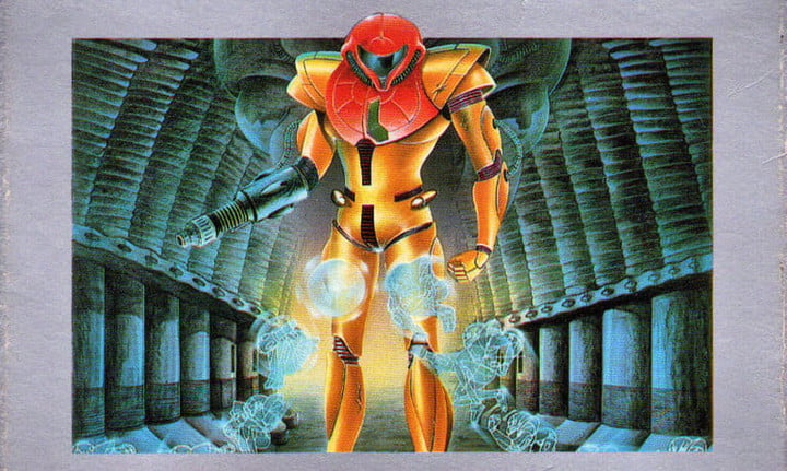 Samus on the cover of Metroid.