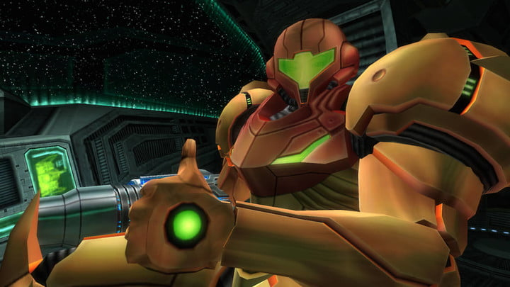 Samus gives a thumbs up in Metroid Prime.