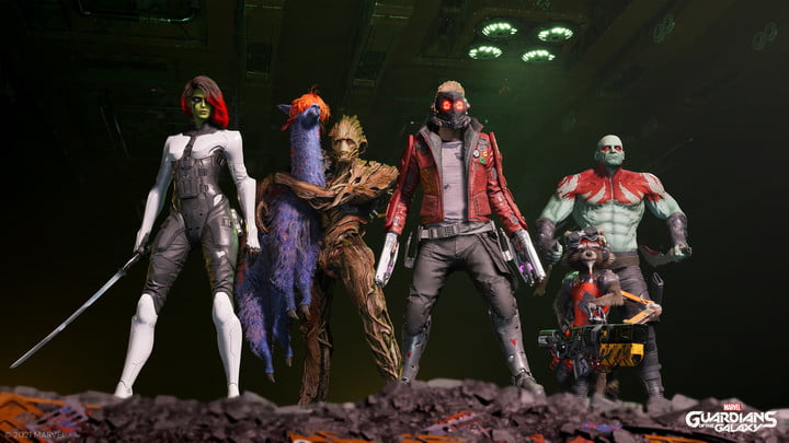 The full squad in Marvel's Guardians of the Galaxy.