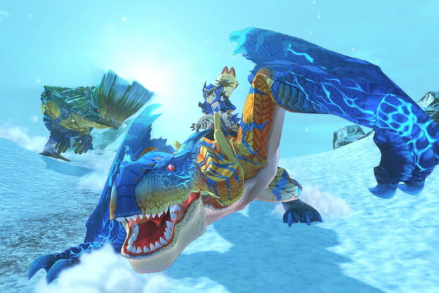 A rider rides a Tigrex in Monster Hunter Stories 2.