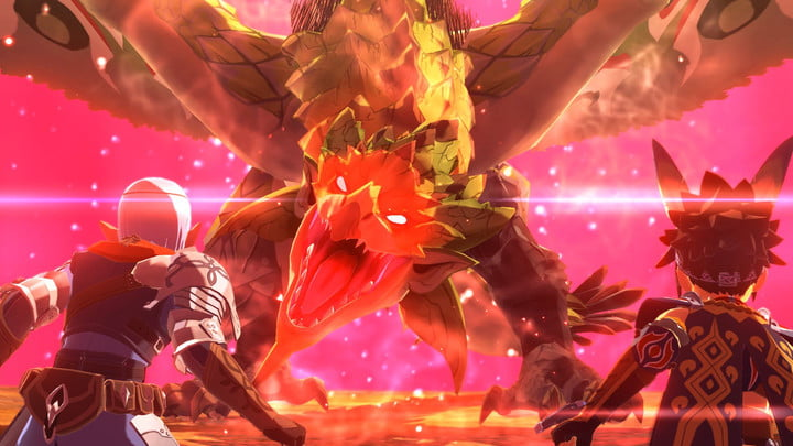 Two riders face a giant dragon in Monster Hunter Stories 2.