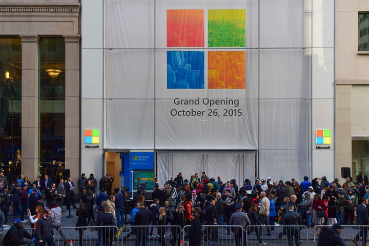 The grand opening of the Microsoft Store in Manhattan NYC.