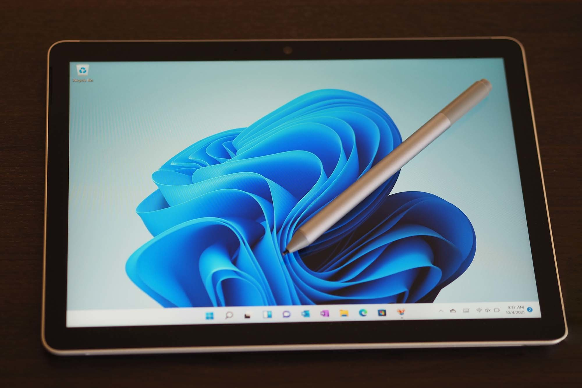 Microsoft Surface Go 3 in tablet mode with stylus.