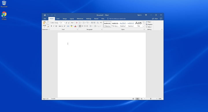 A blank document page in Microsoft Word on a blue desktop background.