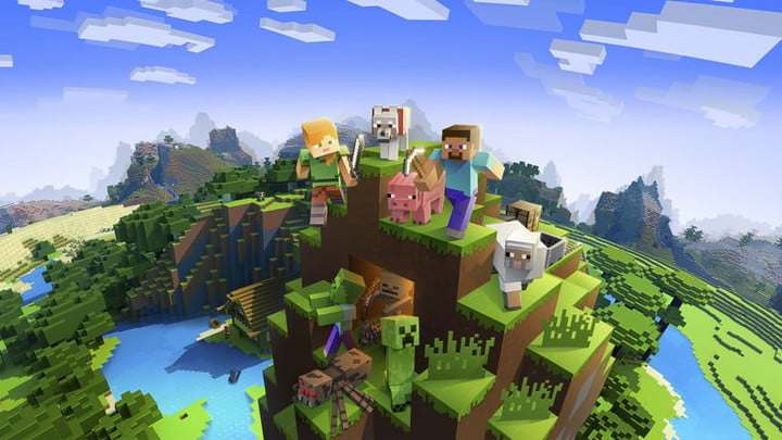 Minecraft characters and animals on a cliff.