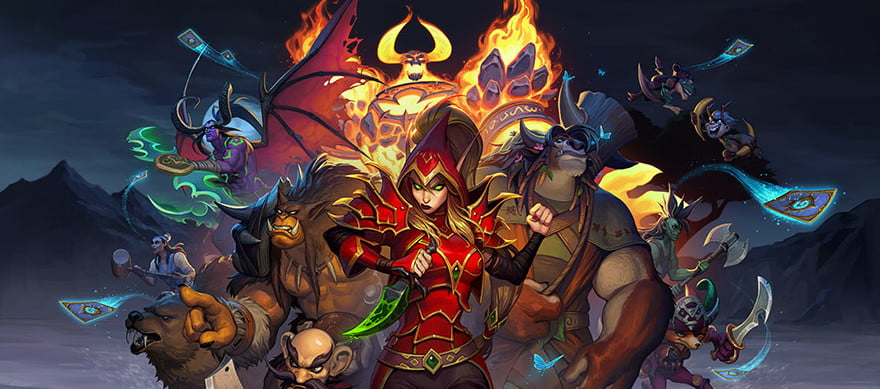 Heroes from Hearthstone Mercenaries stand together.