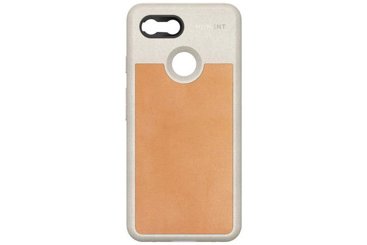 The Moment Photo Case for the Google Pixel 3 in a flecked cream finish with tan leather.