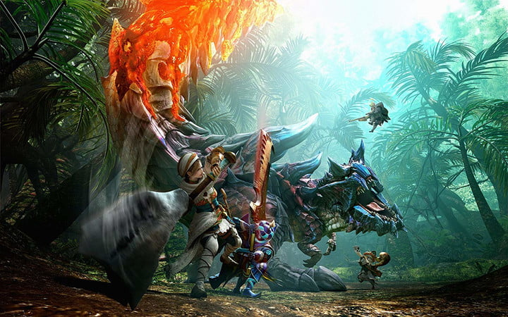 Players battle against a massive creature in Monster Hunter Generations.