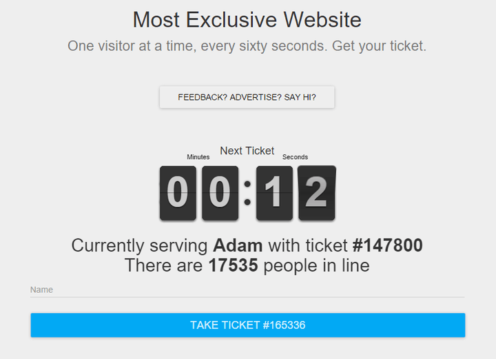 most exclusive website limits to one user