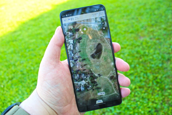 The Motorola Edge 5G UW outside with a golf app.