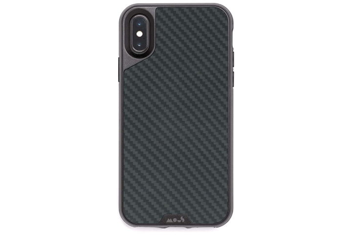 Photo shows the rear view of an iPhone XS in a black carbon fiber case from Mous