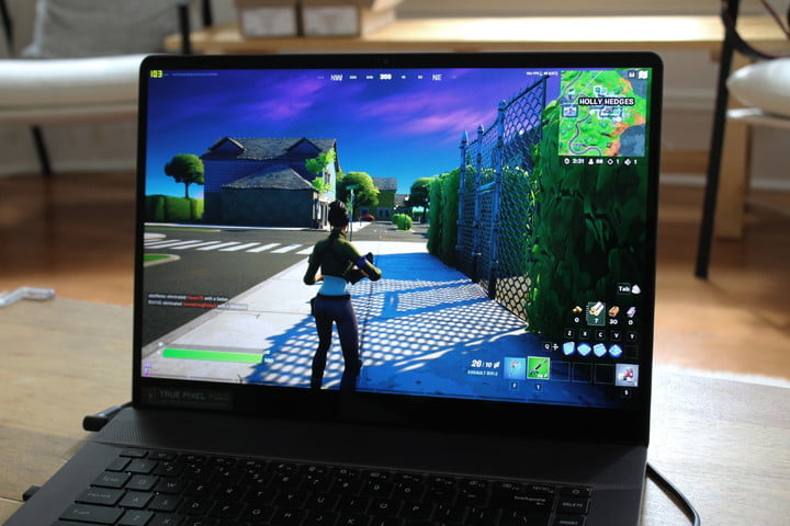 The MSI Creator Z16 with Fortnite playing on the screen.