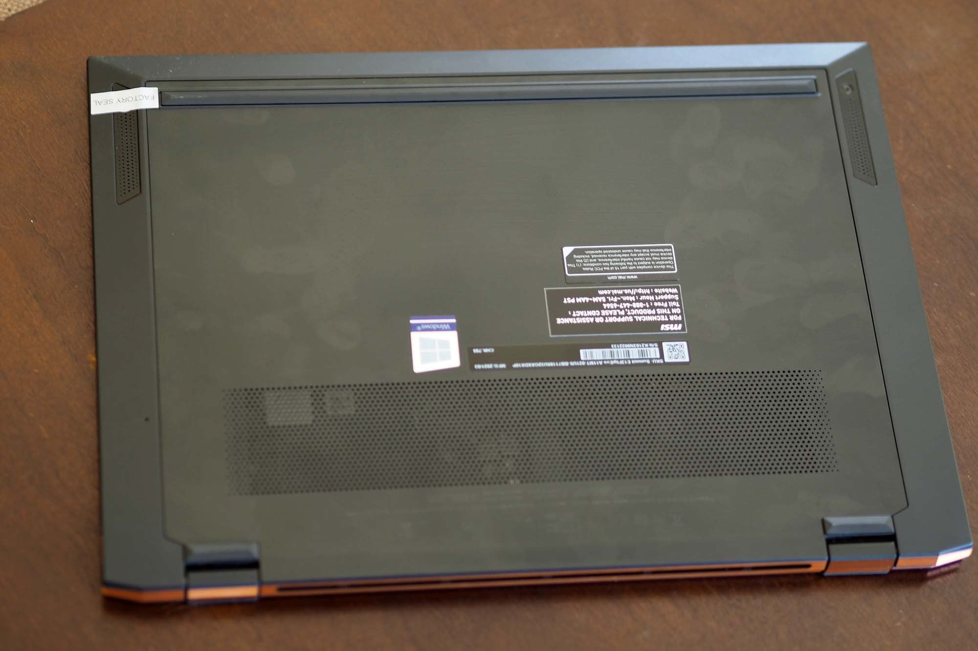 View of the bottom of the Closeup on the MSI Summit E13 Flip Evo.