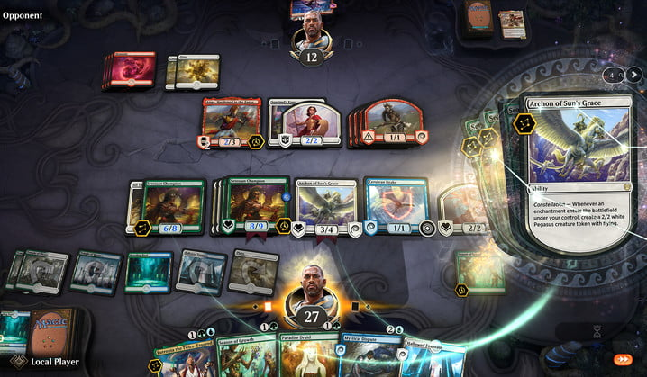 A heated Magic: The Gathering Arena with lots of creatures on the playing field.
