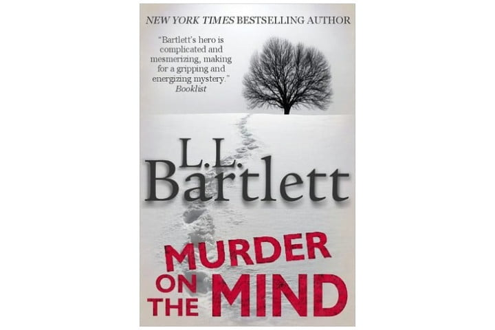 The book cover shows an illustration of a tree and footsteps in the snow leading to it, with the author name in the middle and the book title in large red letters at the bottom