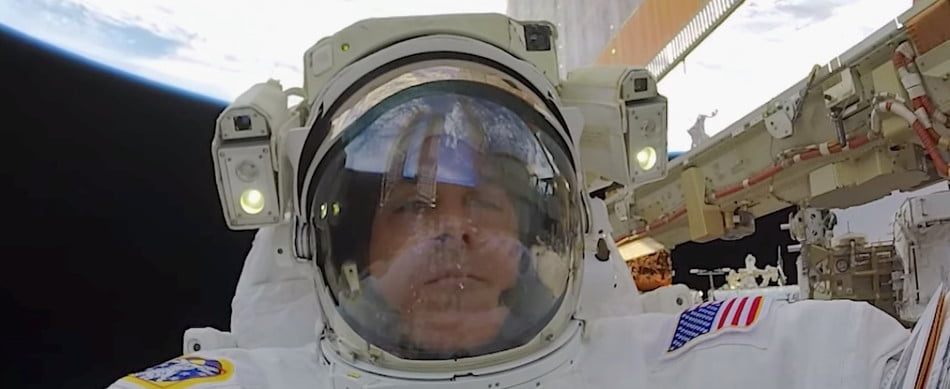 An astronaut during a spacewalk at the International Space Station.