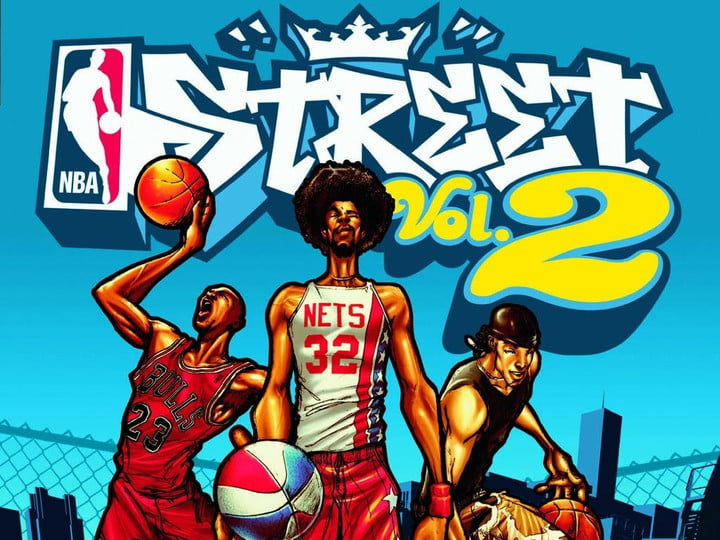 A trio of basketball legends on the cover of NBA Street Vol. 2.