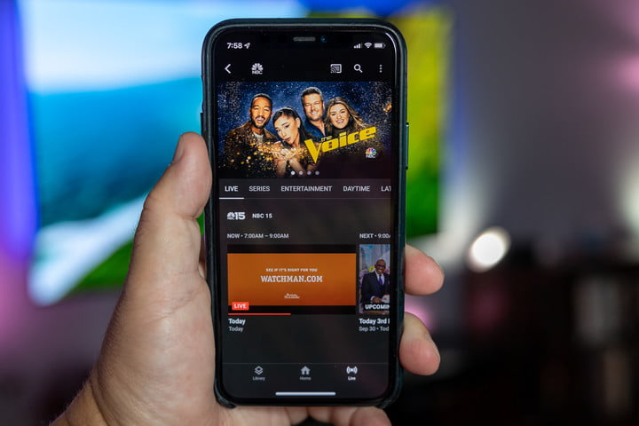 YouTube TV on an iPhone.