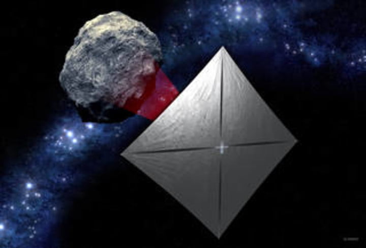 NEA Scout with the solar sail deployed as it flies by its asteroid destination.