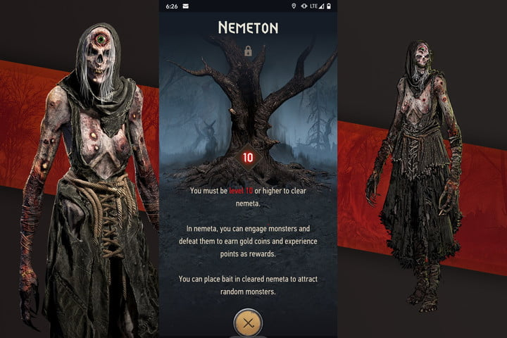 You must be level 10 to access the Nemeton in the Witcher Monster Slayer screen.