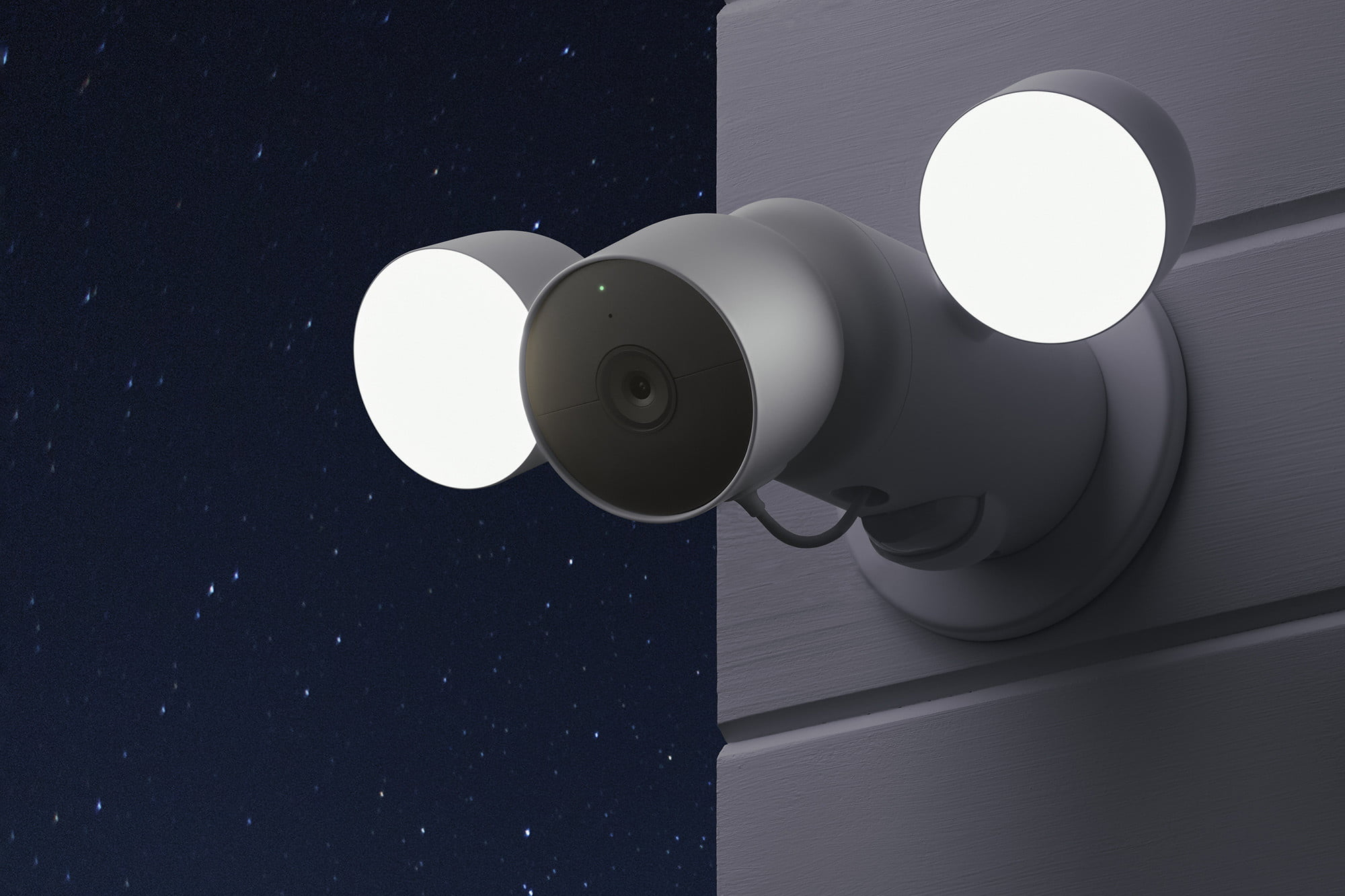 The Google Nest Cam with Floodlight mounted on a house.