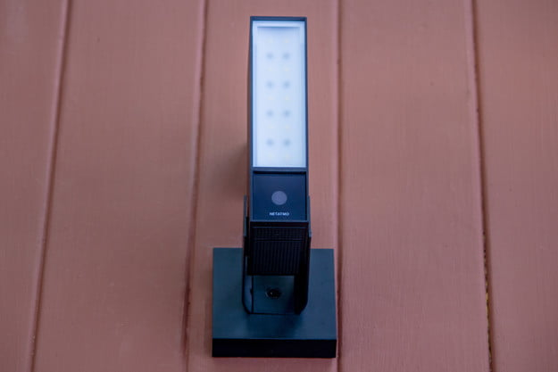Netatmo Camera with siren up on a wall.