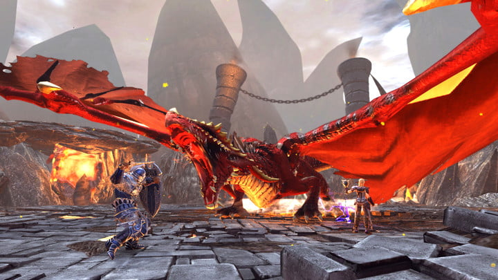 Knight fighting a dragon in Neverwinter.