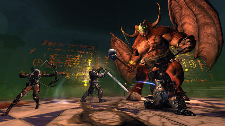 A party of adventurers fight a giant demon in Neverwinter.