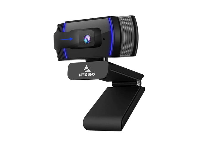 The NexiGo Autofocus webcam with blue accents and its brand name logo on the front, all on a white background.