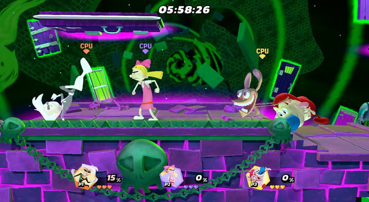 Danny Phantom, Helga von Hey Arnold and Ren and Stimpy fight in a ghost portal.