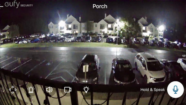 Nighttime footage from the Eufy Floodlight Cam 2 Pro.