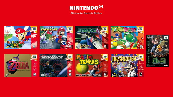 Nintendo Switch Online + Expansion Pack list of N64 games.