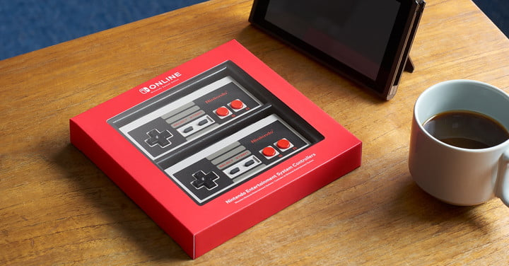 Exclusive NES wireless controllers packaged on a table.