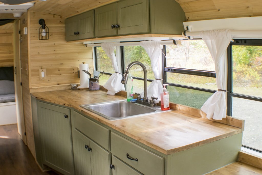 bus converted to solar powered tiny home on wheels nn 0116