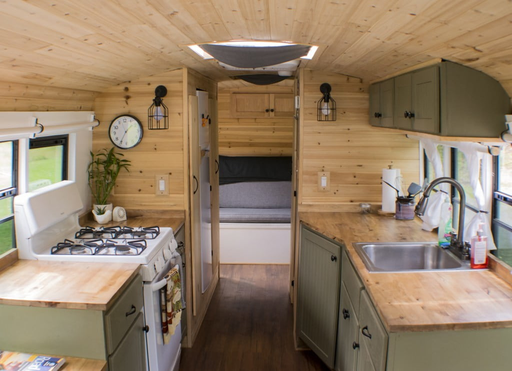 bus converted to solar powered tiny home on wheels nn 0244